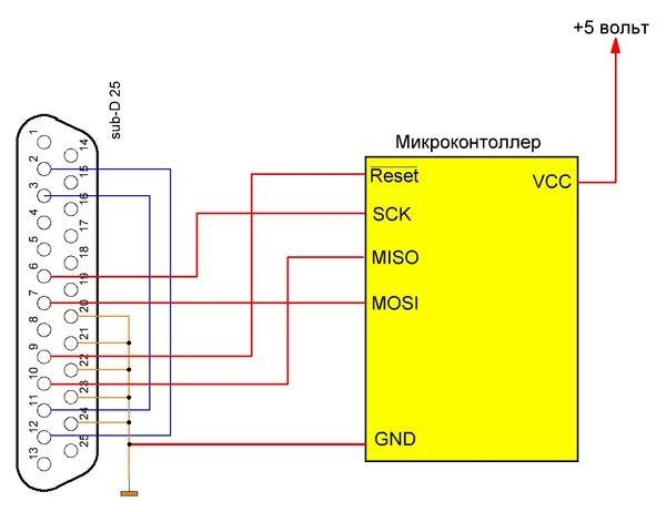 Питание на программируемый микроконтроллер в этой схеме подается от отдельного источника.