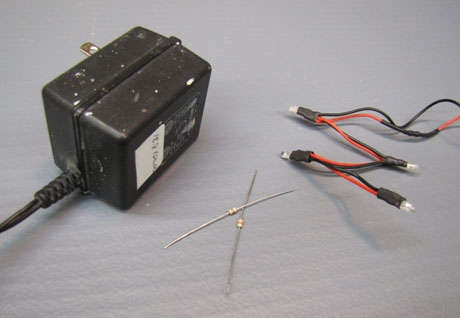 Адаптер, светодиоды, резисторы