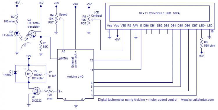 Схема тахометра с lcd